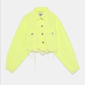 Zara neon yellow cropped distressed denim jacket